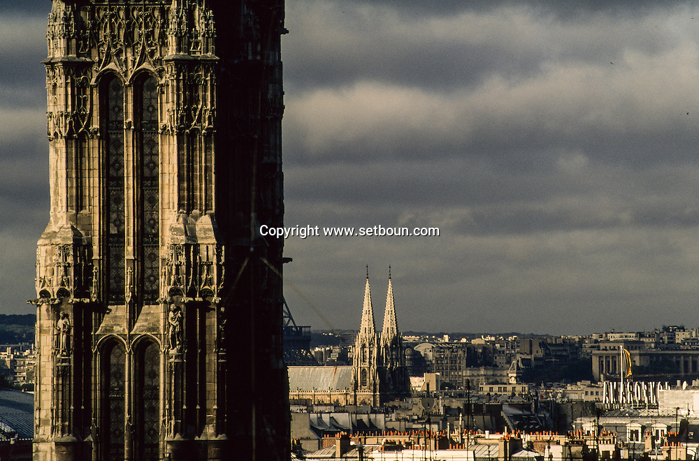 France. Paris. elevated view. Paris view from the Les Billettes church and cloister.bell tower