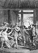 The seizure of Atahualpa at Cajamarca by J.M. Moreau junior. Spaniards taking Inca ruler Atahualpa away as woman faints. engraving.[between 1760 and 1810] Atahualpa (1497 – 1533), was the last Sapa Inca or sovereign emperor of the Inca Empire