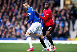 Gylfi Sigurdsson of Everton takes on Aaron Wan-Bissaka of Manchester United - Mandatory by-line: Robbie Stephenson/JMP - 01/03/2020 - FOOTBALL - Goodison Park - Liverpool, England - Everton v Manchester United - Premier League