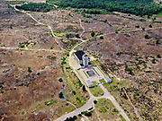 Nederland, Gelderland, Gemeente Barneveld, 21–06-2020; Radio Kootwijk, voormalige PTT-zendstation en zenderpark. Gebouw A (het hoofdgebouw) heeft als bijnaam 'de Kathedraal' en is een Rijksmonument. Radio en dorp Kootwijk zijn eenbeschermd dorpsgezicht (beheerd door Dienst Landelijk Gebied(DLG) enStaatsbosbeheer).<br /> Radio Kootwijk, former PTT station and radio transmitter site. Building A (the main building) is nicknamed 'The Cathedral' and is a listed building.<br /> luchtfoto (toeslag op standaard tarieven);<br /> aerial photo (additional fee required)<br /> copyright © 2020 foto/photo Siebe Swart