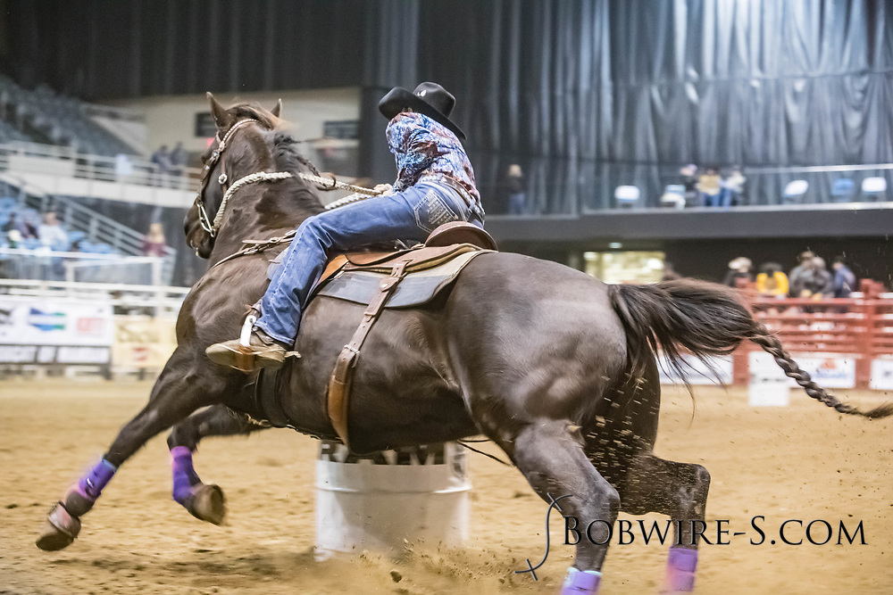 Barrel racer Tera Moody makes her run during slack at the Bismarck Rodeo on Saturday, Feb. 3, 2018. She had a time of 18.49 seconds. This photo and more from most runs are available at Bobwire-S.com.