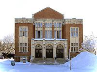 Darke Hall stands in Wascana Centre, midwinter, Regina Saskatchewan