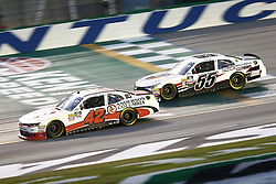 July 13, 2018 - Sparta, Kentucky, United States of America - John Hunter Nemechek (42) and Brandon Hightower (55) battle for position during the Alsco 300 at Kentucky Speedway in Sparta, Kentucky. (Credit Image: © Chris Owens Asp Inc/ASP via ZUMA Wire)