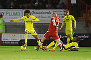 Jacob Maddox and Mark Connolly  during the EFL Sky Bet League 2 match between Crawley Town and Cheltenham Town at the Broadfield Stadium, Crawley, England on 5 January 2019.