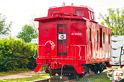 15 May 2019:  Caboose on Main Street carnival in a small rural town in Central Illinois