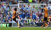 Hull City striker Chuba Akpom fires a shot over the bar the Sky Bet Championship match between Brighton and Hove Albion and Hull City at the American Express Community Stadium, Brighton and Hove, England on 12 September 2015.