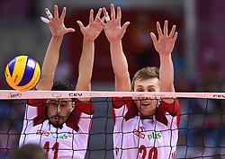 Fabian Drzyzga, Mateusz Bieniek of Poland during the European Championship game Poland - Slovenia on August 30, 2017 in Krakow, Poland. (Photo by Krzysztof Porebski / Press Focus)