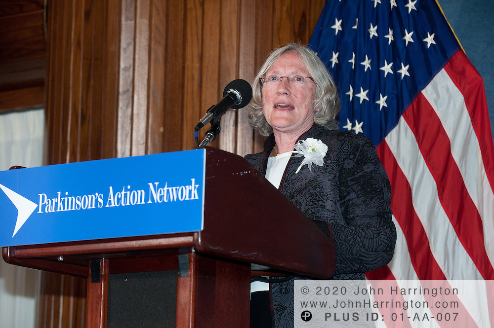 Dr. Story Landis, Director of the National Institute for Neurological Disorders and Stroke (NINDS) at the National Institutes of Health (NIH) thanks the Parkinson's Action Network after receiving the Morris K. Udall Award for Public Service at the 2011 Morris K. Udall Awards Dinner at the National Press Club in Washington, DC on September 14th, 2011.