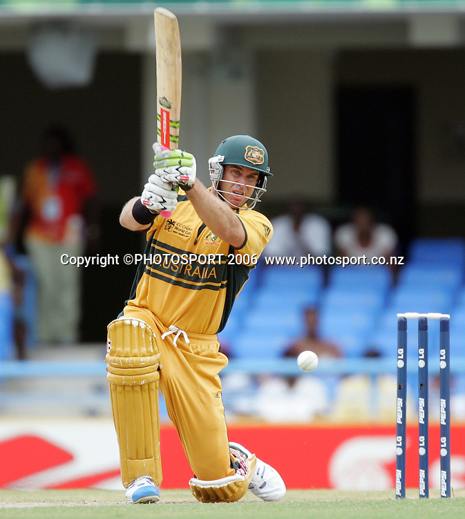 Matthew Hayden during the Super 8 Cricket World Cup match, West Indies vs Australia at the Sir Vivian Richards Cricket Ground in Antigua, West Indies on Tuesday 27 March 2007. Photo: Andrew Cornaga/PHOTOSPORT<br />