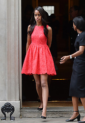 © Licensed to London News Pictures. 16/06/2015. <br /> LONDON, UK. Daughter of Michelle Obama, MALIA OBAMA departs Downing Street after accompanying her mother to have tea with David and Samantha Cameron, London, Tuesday 16 June 2015. Photo credit : Hannah McKay/LNP