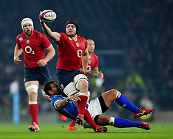 Ben Morgan of England looks to hold onto the ball after being tackled - Photo mandatory by-line: Patrick Khachfe/JMP - Mobile: 07966 386802 22/11/2014 - SPORT - RUGBY UNION - London - Twickenham Stadium - England v Samoa - QBE Internationals