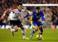 Photo: Daniel Hambury.<br />Fulham v Tottenham Hotspurs. Barclays Premiership. 31/01/2006.<br />Fulham's Liam Rosenior and Tottenham's Aaron Lennon battle.