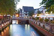 Mümling mit Brauhaus, Dämmerung, Erbach, Odenwald, Naturpark Bergstraße-Odenwald, Hessen, Deutschland   river Mümling and Brauhaus, Erbach, Odenwald, Hesse, Germany