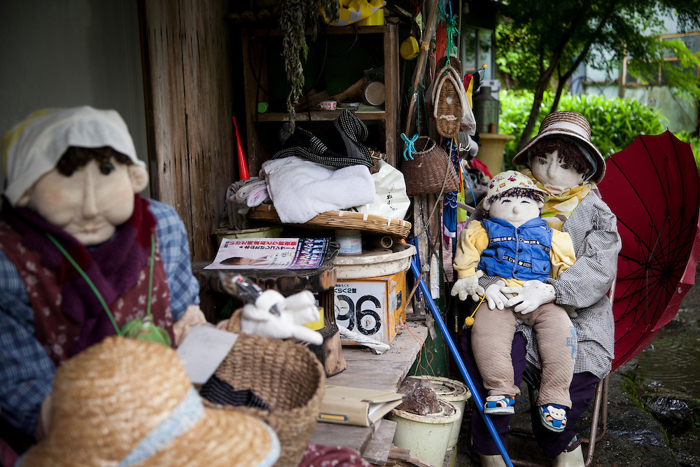 MIYOSHI, JAPAN - JULY 9 :  Hand-made dolls are placed around the village made by local resident Tsukimi Ayano to replace the the departed on July 9, 2015 in Nagoro village, Miyoshi, Japan. Nagoro is a slowly shrinking village located in the valleys of Shikoku, Japan. According to Japan's Statistic Bureau, the percentage of people over 65 years old in Japan is 26.8% while that of the the world is 8.2%. The National Institute of Population and Social Security Research in Tokyo, Japan's population, now around 128 million, is expected to dip below 100 million in 2046.<br /> <br /> Photo: Richard Atrero de Guzman