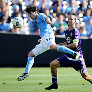 NEW YORK, NEW YORK - May 29:  Andoni Iraola #51 of New York City FC heads clear from Brek Shea #20 of Orlando City FC during the New York City FC Vs Orlando City, MSL regular season football match at Yankee Stadium, The Bronx, May 29, 2016 in New York City. (Photo by Tim Clayton/Corbis via Getty Images)