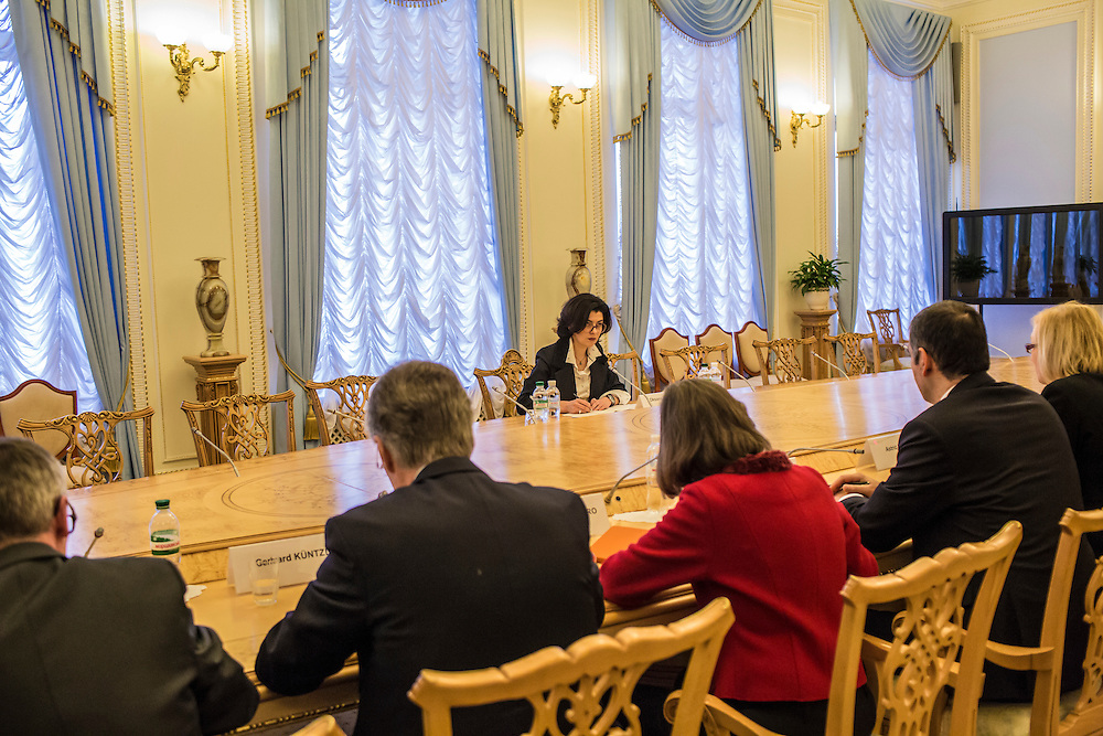 KIEV, UKRAINE - MARCH 4, 2016: Oksana Syroyid, center, deputy speaker of the Ukrainian parliament, conducts a meeting with ambassadors from the Council of Europe in Kiev, Ukraine. Syroyid is one of parliament's main opponents of the constitutional reforms called for in the Minsk agreement intended to resolve fighting in eastern Ukraine. CREDIT: Brendan Hoffman for The New York Times