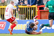 Leeds Rhinos winger Ryan Hall (5) scores a try  during the Betfred Super League match between Hull Kingston Rovers and Leeds Rhinos at the Lightstream Stadium, Hull, United Kingdom on 29 April 2018. Picture by Simon Davies.