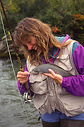 "Robin Brandt releasing an Arctic Grayling from a dry fly she had caught on a Fenwick 7'6"" 3 oz. rod. Interior Alaska stream."