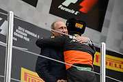 October 8-11, 2015: Russian GP 2015: Vladimir Putin hugs Sergio Perez (MEX), Force India