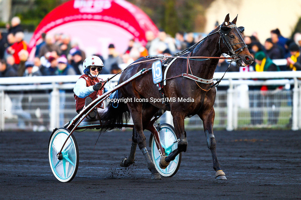 Victoire de BAZIRE Jean Michel - UP AND QUICK - 25.01.2015 - Prix d'Amerique Opodo 2015<br /> Photo : Dyga / Icon Sport
