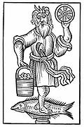 Saxon god Crodon.  From Herman Stangefol 'Annales Circuli Westphaliae', 1656. Woodcut