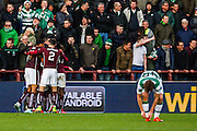 Hearts Celebrate the equalising goal during the Ladbrokes Scottish Premiership match between Heart of Midlothian and Celtic at Tynecastle Stadium, Gorgie, Scotland on 27 December 2015. Photo by Craig McAllister.