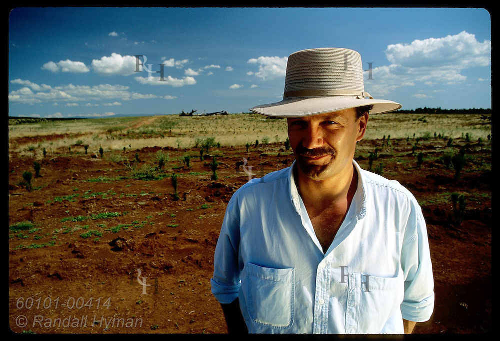Yugoslavian immigrant Zel Bodulovic poses in pine nursery in New South Wales, his adopted home. Australia