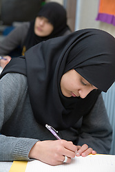 Girls studying for their GCSEs at the Nottingham Islamia school,