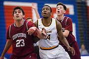 Mission Bears forward Anthony Mcbride (34) battles for a rebound against Cupertino during the Fukushima Invitational at Independence High School in San Jose, Calif., on December 7, 2016. (Stan Olszewski/Special to S.F. Examiner)
