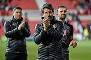 Lincoln City manager Danny Cowley applauds the fans following their 2-2 draw during the EFL Sky Bet League 2 match between Swindon Town and Lincoln City at the County Ground, Swindon, England on 12 January 2019.