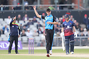 Worcestershire's Josh Tongue  during the Royal London 1 Day Cup match between Lancashire County Cricket Club and Worcestershire County Cricket Club at the Emirates, Old Trafford, Manchester, United Kingdom on 17 April 2019.