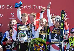 14.03.2014, Pista Silvano Beltrametti, Lenzerheide, SUI, Teambewerb, im Bild Die Schweizer mit Denise Feierabend, Luca Aerni, Reto Schmidiger, Wendy Holdener, Marc Gini an der Siegerehrung // during team event of FIS Ski Alpine World Cup finals at the Pista Silvano Beltrametti in Lenzerheide, Switzerland on 2014/03/14. EXPA Pictures © 2014, PhotoCredit: EXPA/ Freshfocus/ Christian Pfander<br /> <br /> *****ATTENTION - for AUT, SLO, CRO, SRB, BIH, MAZ only*****