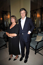 LADY ANNABEL GOLDSMITH and ZAC GOLDSMITH at a party to celebrate the publiction of 'No Invitation Required' by Annabel Goldsmith, held at Claridge's, Brook Street, London on 11th November 2009.