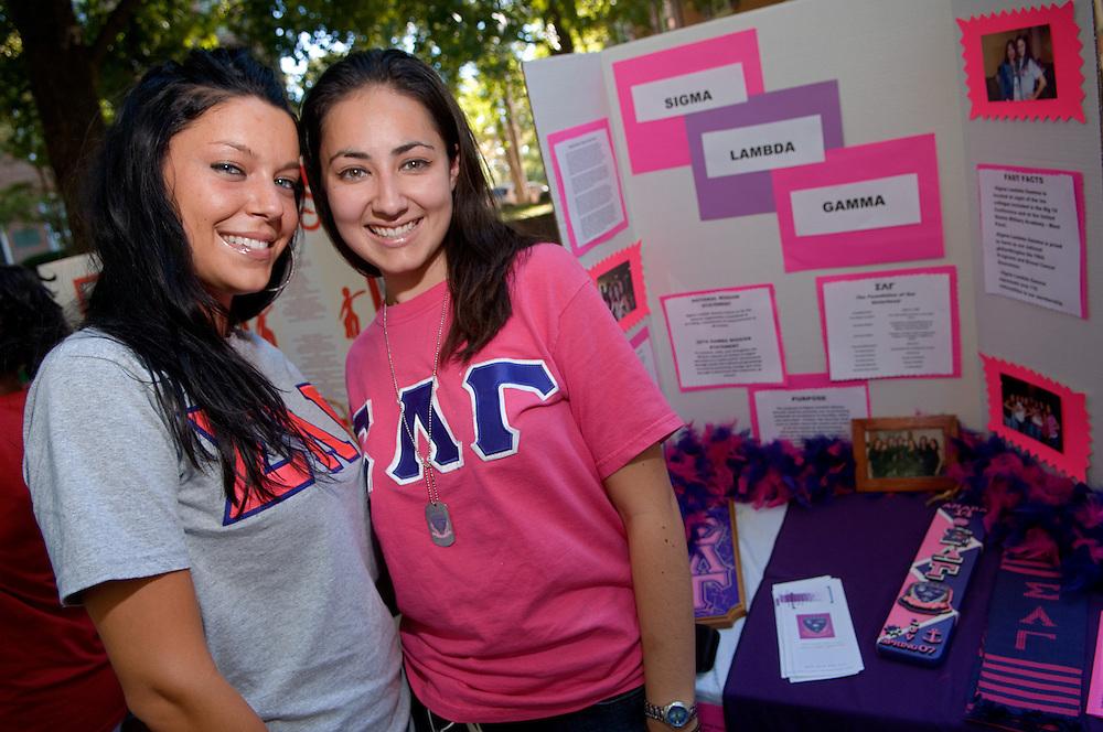 18356The Freshman Convocation 9/03/2007...Sigma Lambda Gamma: Latina based Sorority...Cristina Mutchler & Selina Rivera
