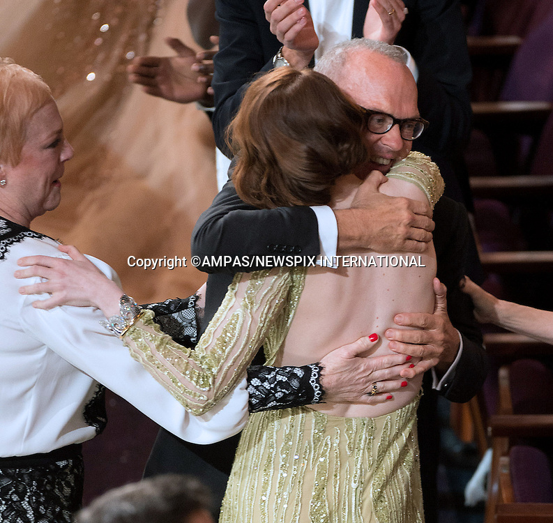22.02.2015; Hollywood, California: 87TH OSCARS - EMMA STONES HUGS MICHAEL KEATON<br /> during the Annual Academy Awards Telecast, Dolby Theatre, Hollywood.<br /> Mandatory Photo Credit: NEWSPIX INTERNATIONAL<br /> <br />               **ALL FEES PAYABLE TO: &quot;NEWSPIX INTERNATIONAL&quot;**<br /> <br /> PHOTO CREDIT MANDATORY!!: NEWSPIX INTERNATIONAL(Failure to credit will incur a surcharge of 100% of reproduction fees)<br /> <br /> IMMEDIATE CONFIRMATION OF USAGE REQUIRED:<br /> Newspix International, 31 Chinnery Hill, Bishop's Stortford, ENGLAND CM23 3PS<br /> Tel:+441279 324672  ; Fax: +441279656877<br /> Mobile:  0777568 1153<br /> e-mail: info@newspixinternational.co.uk