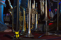Brass on stage at Biketemberfest.  (Karen Bobotas/for the Laconia Daily Sun)