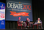 "Oct. 15, 2012 - Hempstead, New York, U.S. - At left, former White House Chief of Staff ERSKINE BOWLES (Democrat), and, at right, former Senator ALAN SIMPSON (Republican), co-chairmen of the National Commission on Fiscal Responsibility and Reform, speak at Hofstra University about ?America's Debt and Deficit Crisis: Issues and Solutions,? with (at center) moderator PATRICK SOCCI, Dean of Hofstra's Zarb School of Business. This event with the Simpson-Bowles non-partisan U.S. fiscal debt reduction plan co-leaders, was part of ""Debate 2012 Pride Politics and Policy"" a series of events leading up to when Hofstra hosts the 2nd Presidential Debate between Obama and M. Romney, the next night, October 16, 2012, in a Town Meeting format."