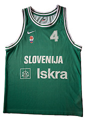 Jersey number 4 of Slovenian basketball national team when played at European Championships France 1999; on March 28, 2009, in Ljubljana, Slovenia (Photo by Vid Ponikvar / Sportida)