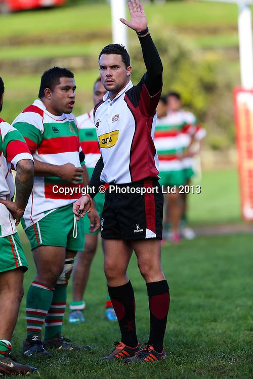 Referee Marius Botha during Auckland Premier Club Rugby match, Alan McEvoy Memorial Shield round robin, Otahuhu v East Tamaki at Sturges Park, Auckland, New Zealand. Saturday 22 June 2013. Photo: David Joseph / photosport.co.nz