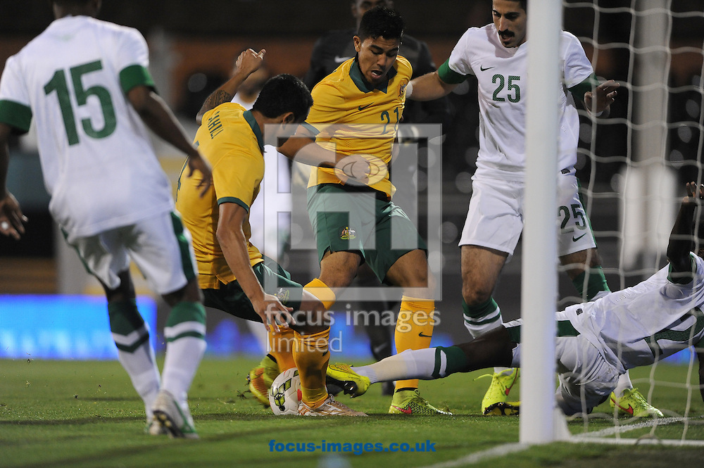Tim Cahill of Australia scores their first goal during the International Friendly match at Craven Cottage, London<br /> Picture by Daniel Hambury/Focus Images Ltd +44 7813 022858<br /> 08/09/2014