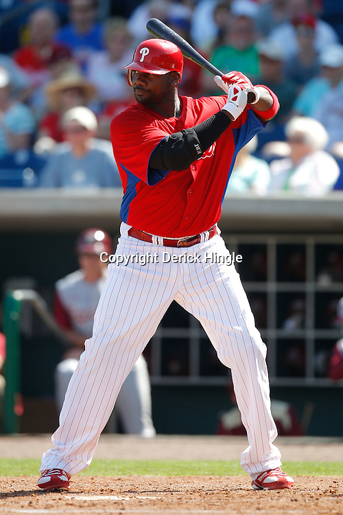 February 24, 2011; Clearwater, FL, USA; Philadelphia Phillies first baseman Ryan Howard (6) during a spring training exhibition game against the Florida State Seminoles at Bright House Networks Field. Mandatory Credit: Derick E. Hingle