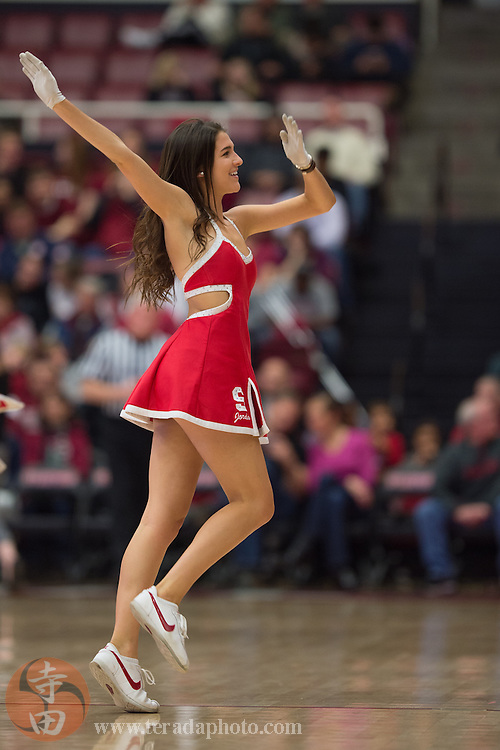 January 4, 2015; Stanford, CA, USA; Stanford Cardinal Dollies dancer Jordan Huelskamp performs during the first half against the Washington Huskies at Maples Pavilion. The Cardinal defeated the Huskies 68-60 in overtime.
