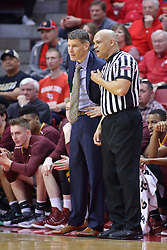 19 February 2017:  Porter Moser and Ed Crensahw have a chat during a College MVC (Missouri Valley conference) mens basketball game between the Loyola Ramblers and Illinois State Redbirds in  Redbird Arena, Normal IL