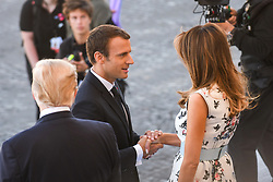 French President Emmanuel Macron and US First Lady Melania Trump seen as they attend Bastille Day Military Parade, Place de la Concorde, in Paris on July 14, 2017. Photo by Ammar Abd Rabbo/ABACAPRESS.COM
