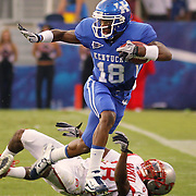Sept. 11, 2010 - Lexington, Kentucky, USA -  UK's RANDALL COBB ran past WKU's JAMAL FORREST for a first down in the first half as the University of Kentucky played Western Kentucky University at Commonwealth Stadium. Kentucky won the game, 63-28. (Credit image: © David Stephenson/ZUMA Press)
