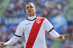 February 23, 2019 - Getafe, Madrid, Spain - Raul de Tomas of Rayo Vallecano celebrating a goal during La Liga Spanish championship, football match between Getafe and Rayo Vallecano, February 23th, in Coliseum Alfonso Perez in Getafe, Madrid, Spain. (Credit Image: © AFP7 via ZUMA Wire)