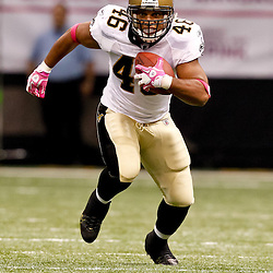 October 3, 2010; New Orleans, LA, USA; New Orleans Saints running back Ladell Betts(46) against the Carolina Panthers during the second quarter at the Louisiana Superdome. Mandatory Credit: Derick E. Hingle