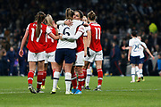 Danielle Van De Donk and Anna Filbey hug after the FA Women's Super League match between Tottenham Hotspur Women and Arsenal Women FC at Tottenham Hotspur Stadium, London, United Kingdom on 17 November 2019.