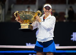 October 7, 2018 - Caroline Wozniacki of Denmark poses with the winners trophy after winning the final of the 2018 China Open WTA Premier Mandatory tennis tournament (Credit Image: © AFP7 via ZUMA Wire)