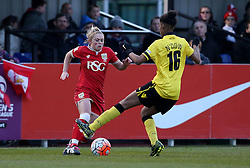 Millie Farrow of Bristol City Women takes on Elisha N'Dow of Aston Villa Ladies - Mandatory by-line: Robbie Stephenson/JMP - 02/01/2012 - FOOTBALL - Stoke Gifford Stadium - Bristol, England - Bristol City Women v Aston Villa Ladies - FA Women's Super League 2